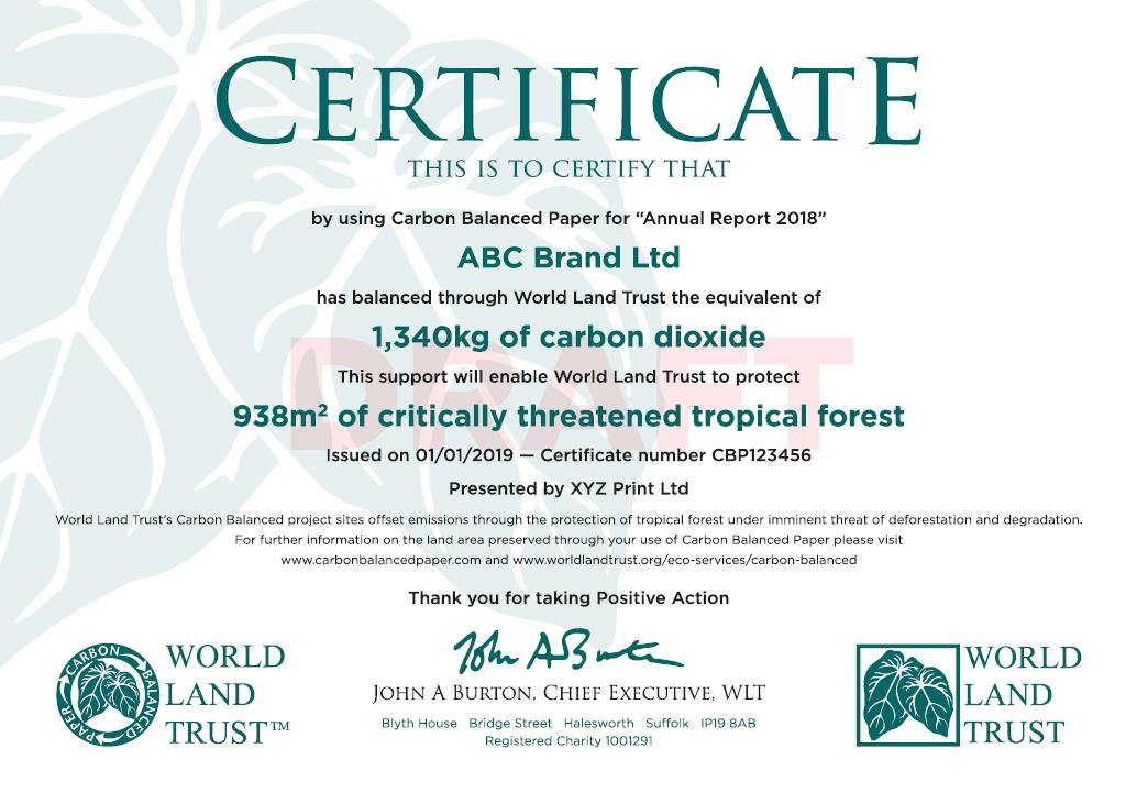 WLT Sample Certificate